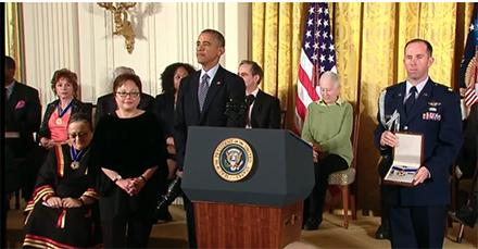 Gwendolyn Mink accepts #MedalOfFreedom on behalf of her late mother, Congresswoman Patsy Takemoto Mink. http://t.co/6tQT1XWwOm