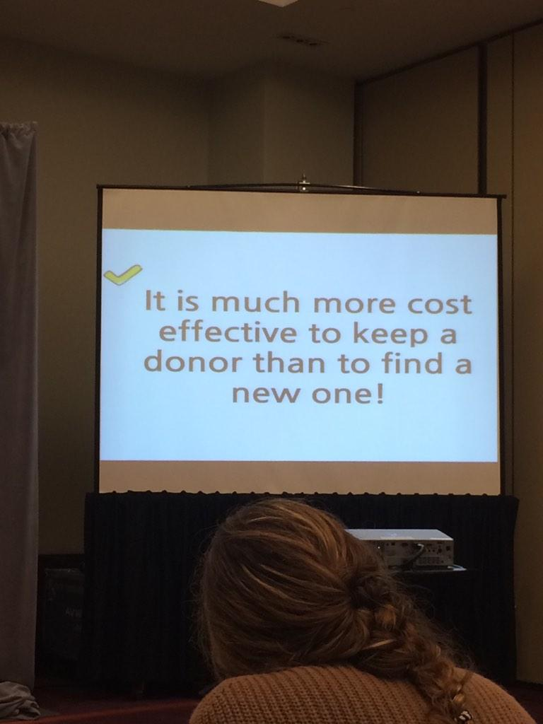 Don't chase new donors... Keep the ones you have. Cultivation costs 40 cents, getting a donor $1.25 #afpcongress http://t.co/aUFC1Dilku