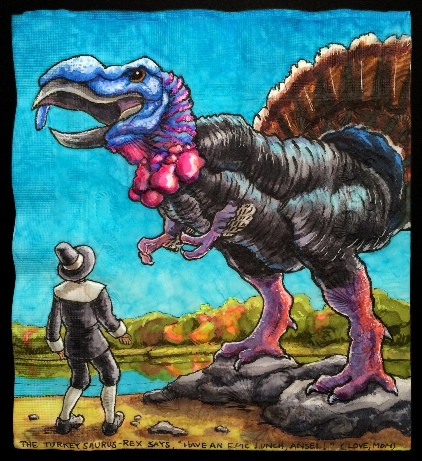 "Daily Napkins on Twitter: ""Turkeysaurus Rex & Pilgrim for ..."
