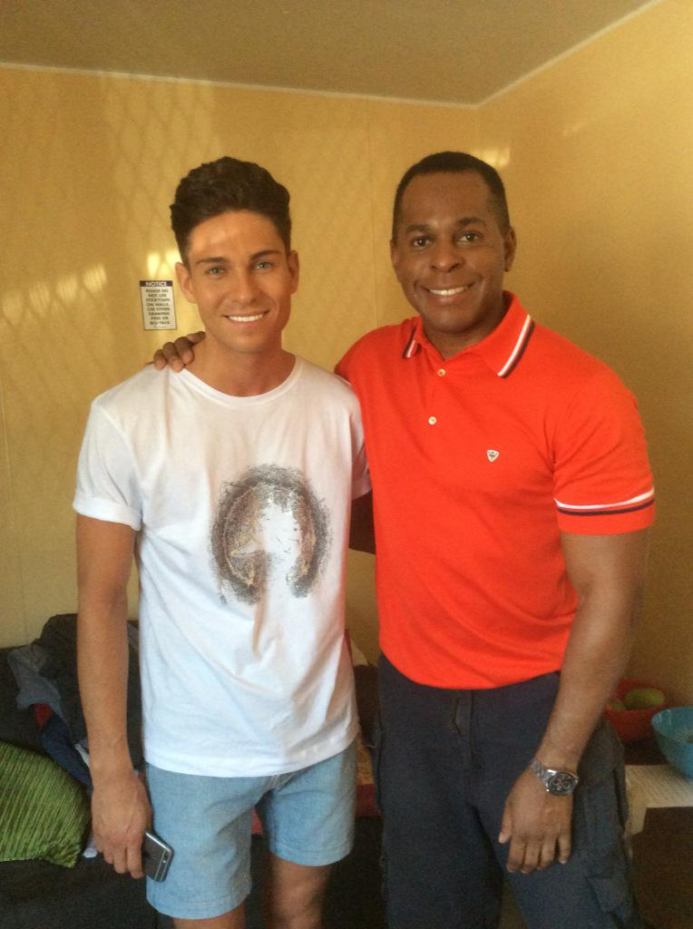 Here we go! Me and @joeyessex_ Yep, that is orange @johnsmedley http://t.co/1fiDLXOKep