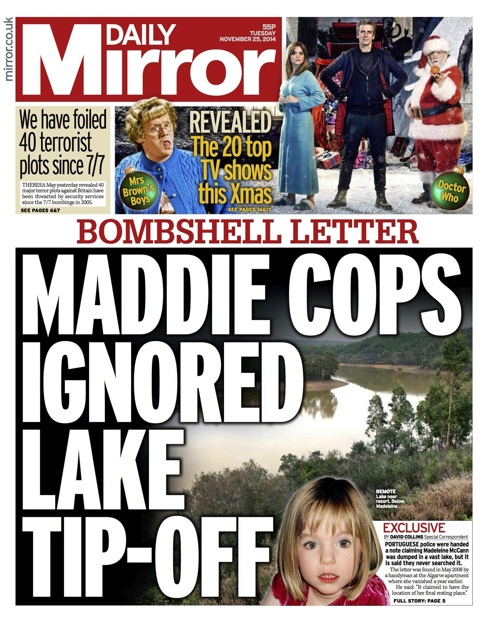 Maddie cops ignored lake tip-off - Daily Mirror 25/11/14 B3PaOv-IUAA_Qaq