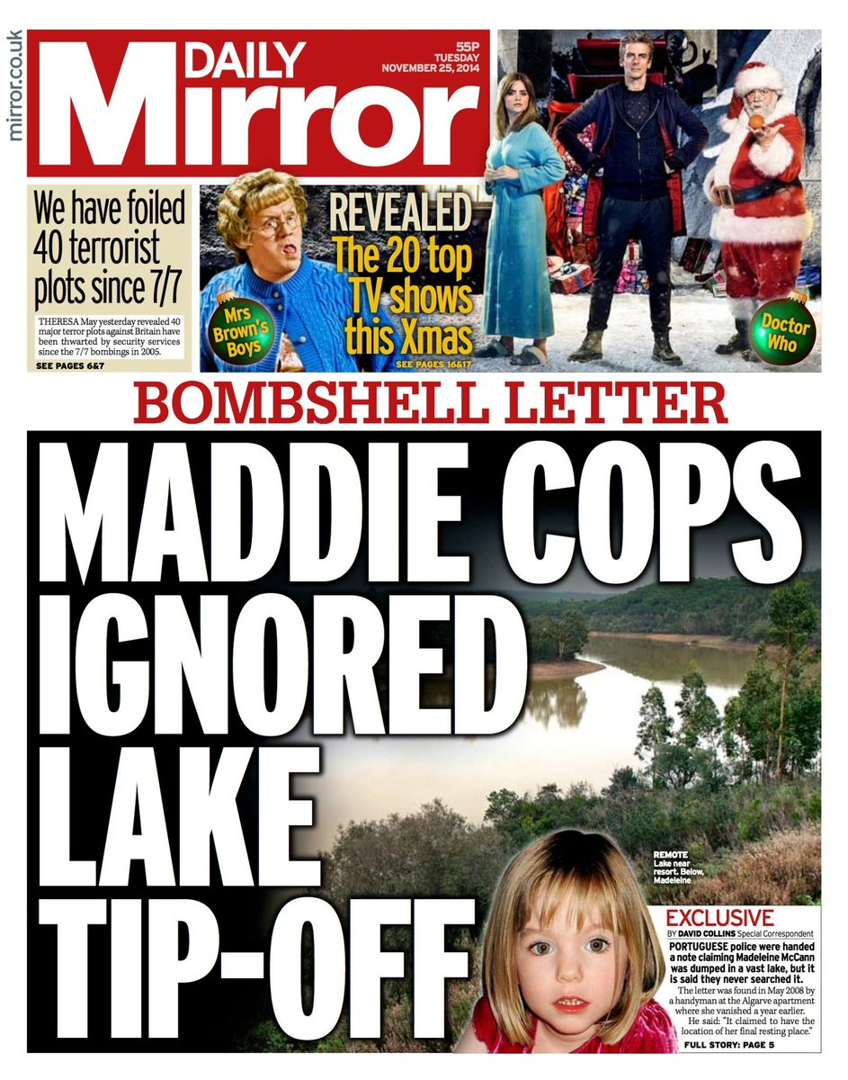 Madeleine McCann dumped in lake (Daily Mirror) and EXPRESS