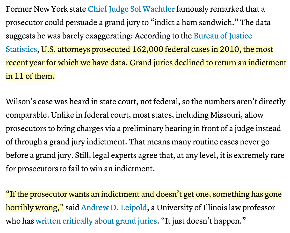 Out of 162,000 federal cases in 2010, only in 11 did grand juries decline to indict. http://t.co/xKCcvS39O2 http://t.co/jwNKxvkfxT