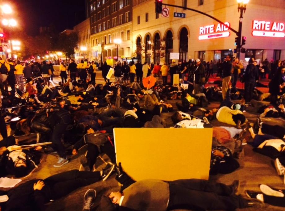 Shock, anger over #Ferguson decision brings Bay Area demonstrators into the streets. http://t.co/zAQ3aNS0fI http://t.co/AvhVZdvuGx