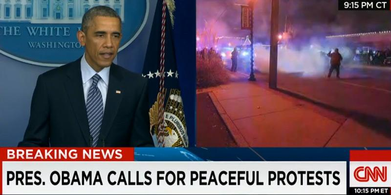Violence and tear gas erupts live on CNN, during Obama address #Ferguson http://t.co/7M3LVCP9Hy http://t.co/HdE0U42GKl