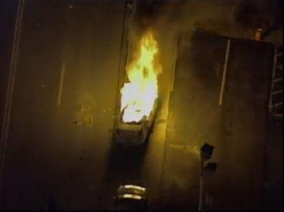 Police car has been set on fire in #Ferguson. http://t.co/M4IhnkP5Z5