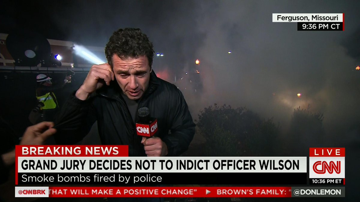 """This night has turned quite violent."" @ChrisCuomo fighting tear gas #FergusonDecision http://t.co/0LLC3NAsMc"