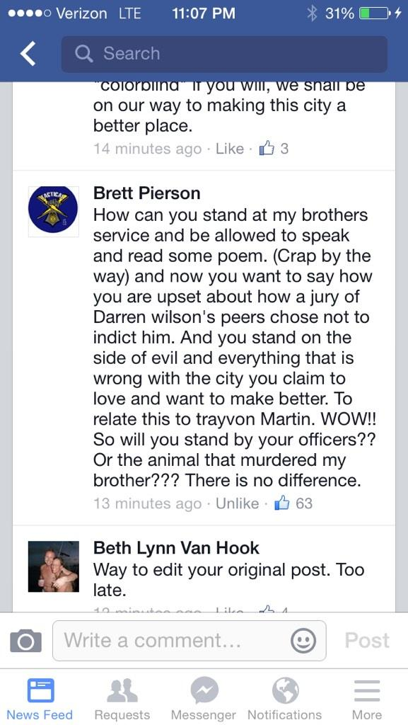 Mayor Warren posts FB she is upset w/ #FergusonDecision. 100s react, including  brother of fallen RPD officer. http://t.co/NUYS12bHkm