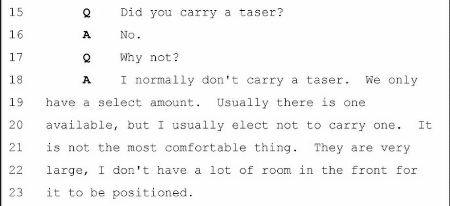 Darren Wilson on why he didn't carry a taser. http://t.co/PgbagTmm0p