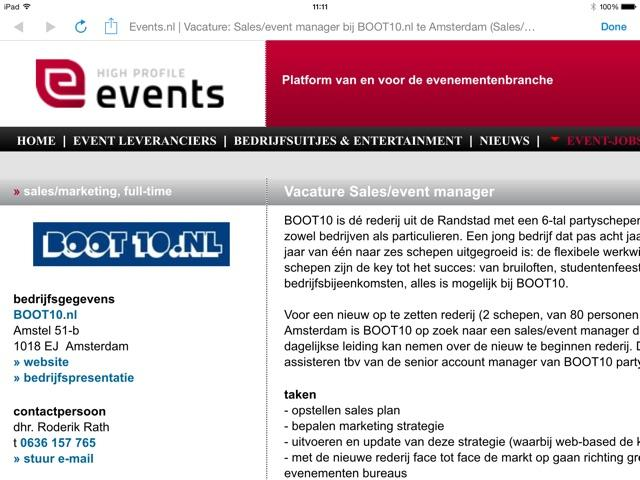 Boot10 vacature