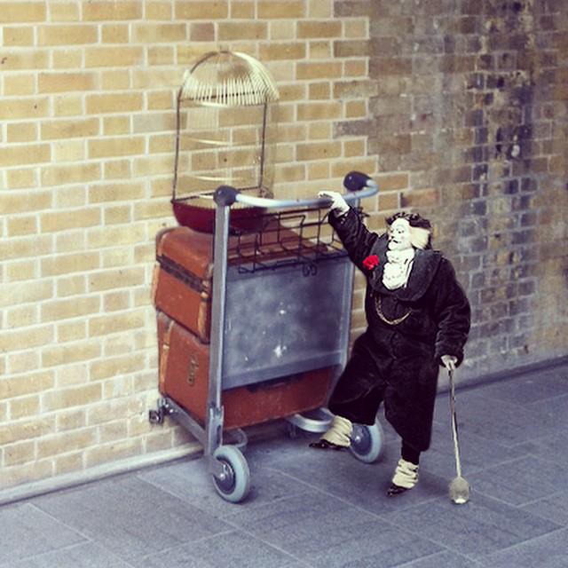 Did you spot #BustopherJones practising his wizardry skills at Platform 9 ¾ today? #CatsLondon http://t.co/m5x3V0uHAk