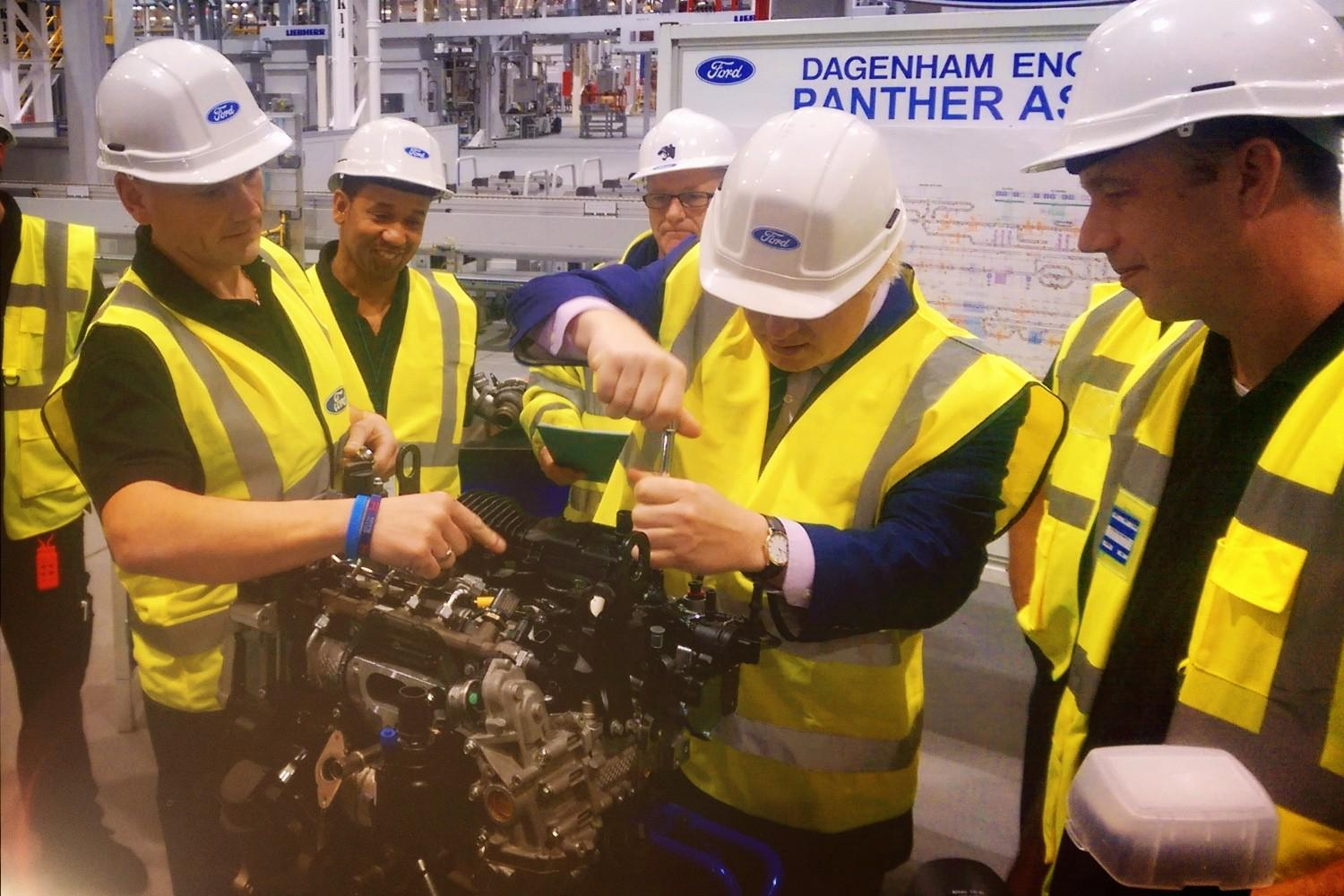 In Dagenham this morning to meet @ford apprentices and help out on the low emission engine assembly line http://t.co/RPXAVpNoAq