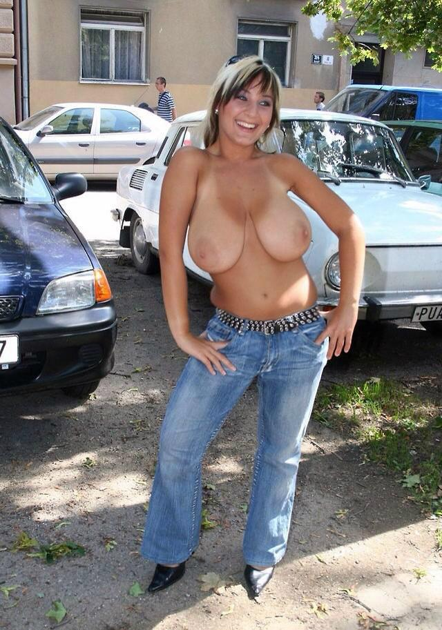 big natural tits in public