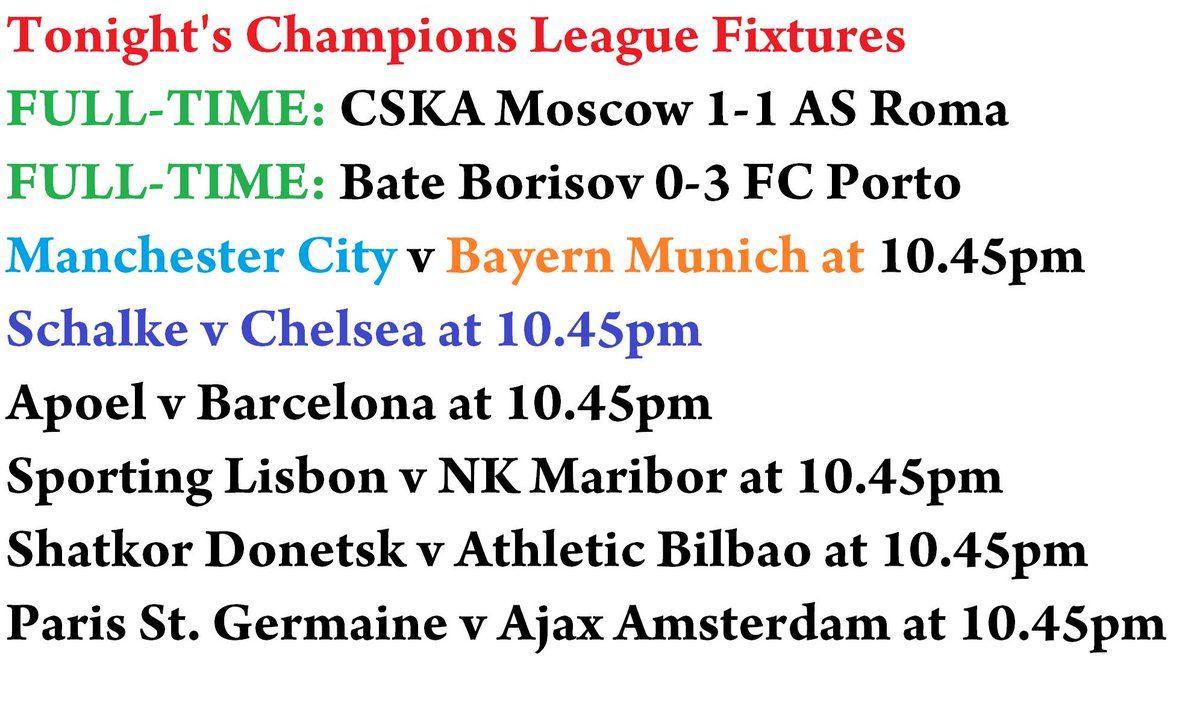 Tonight's champions league fixtures full-time: cska moscow 1