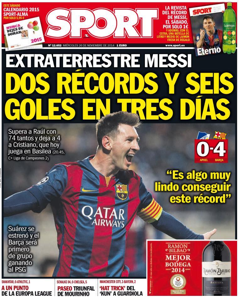 Portada de Sport del 26 de Noviembre: Dos récords y seis goles en tres días