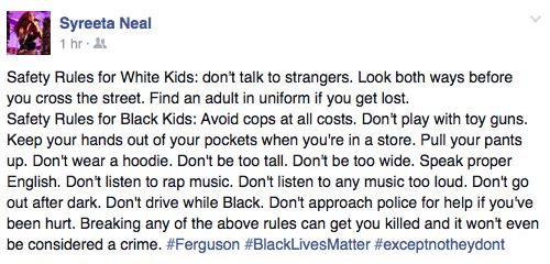 Safety tips for white kids vs. safety tips for black kids, by @SyreetaNeal #Ferguson http://t.co/MYBgBfWNdP