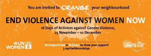 Int'l Day to End Violence agnst Women! Join #16Days of Activism & #orangeurhood http://t.co/9dGLdHEDXf @UN_Women http://t.co/0kYl8sUmvE
