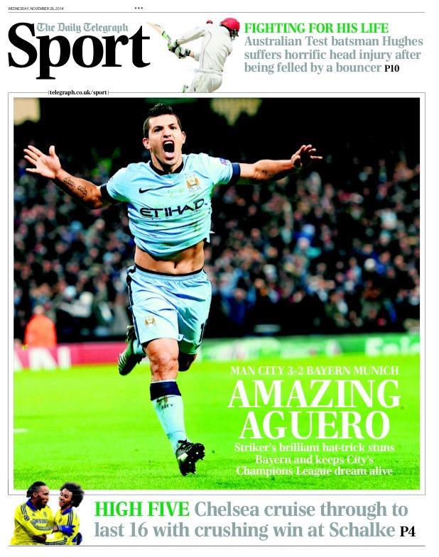Portada de The Telegraph del 26 de Noviembre