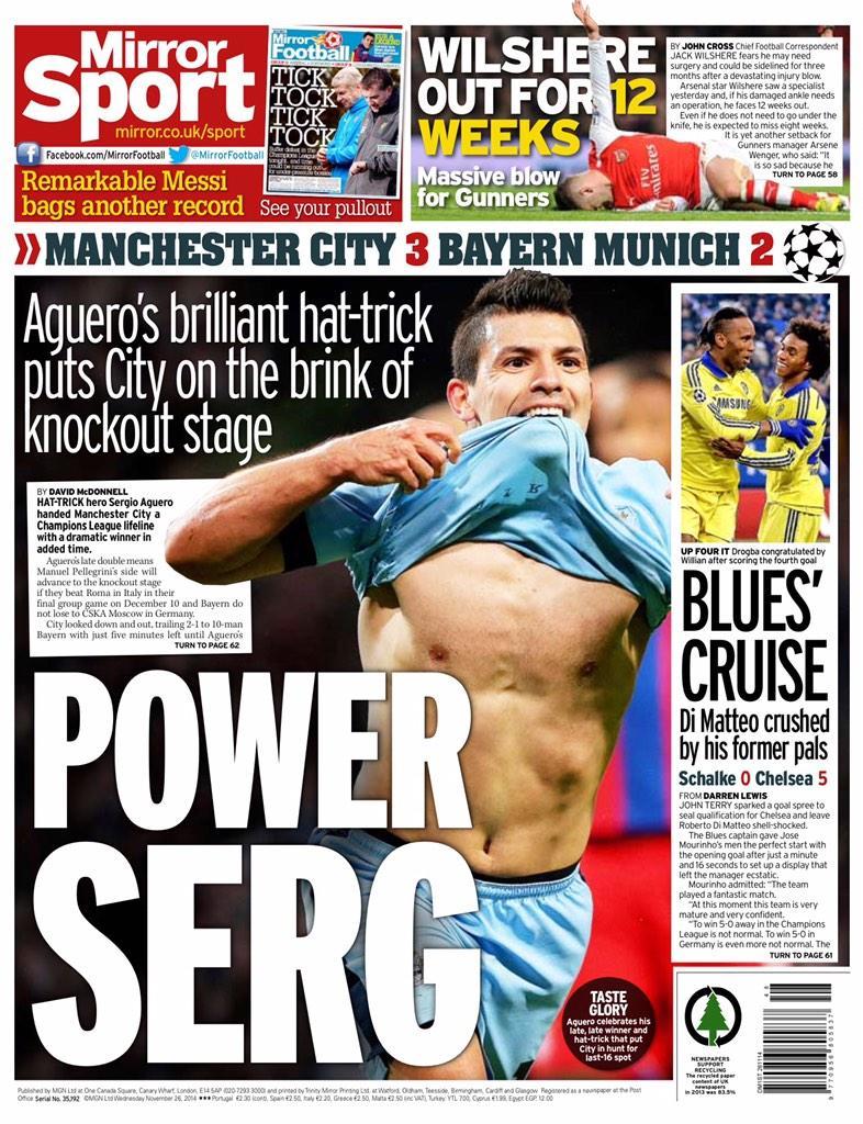Portada del Daily Mirror del 26 de Noviembre