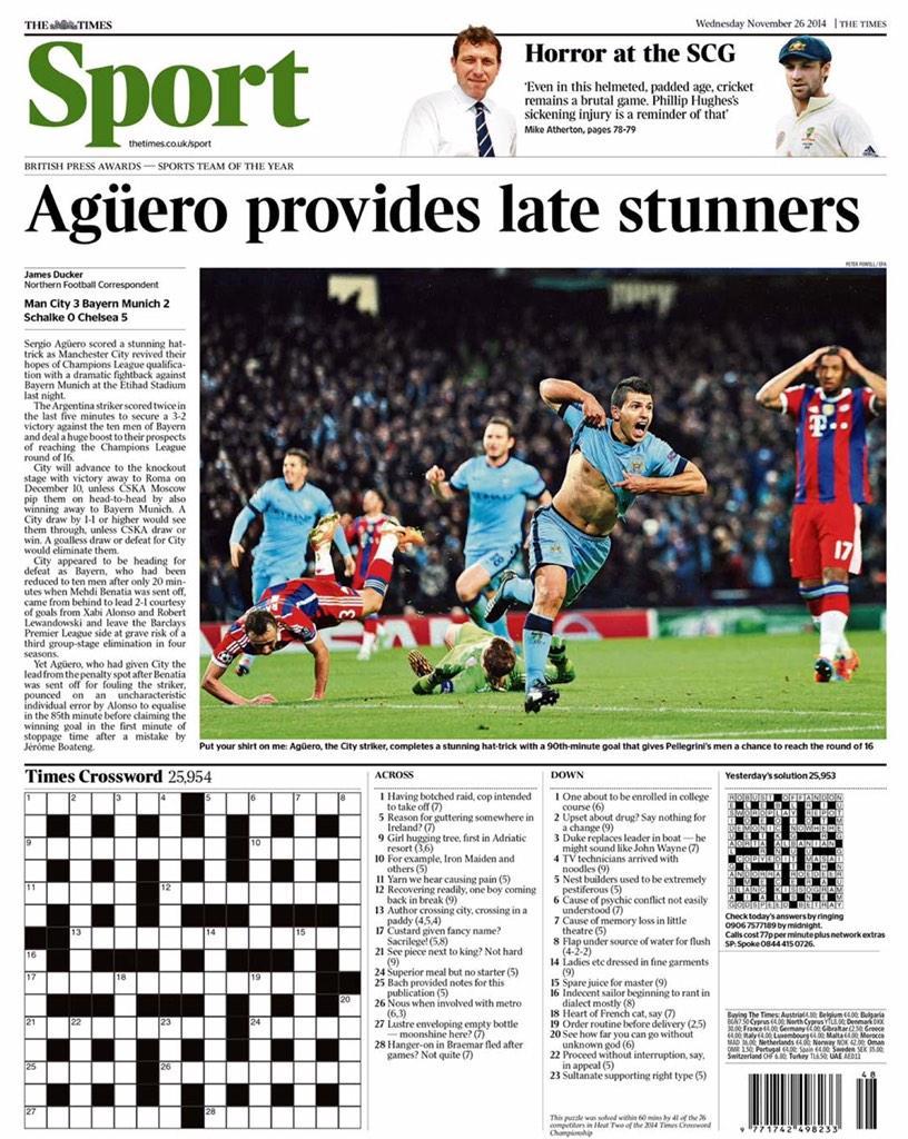 Portada del Times del 26 de Noviembre