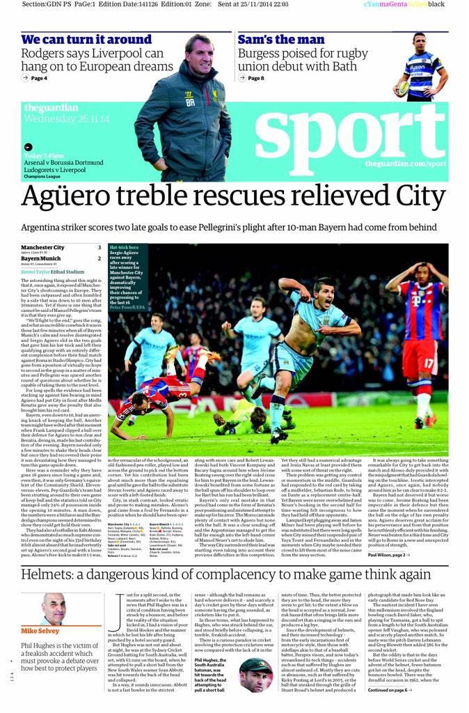 Portada de The Guardian del 26 de Noviembre