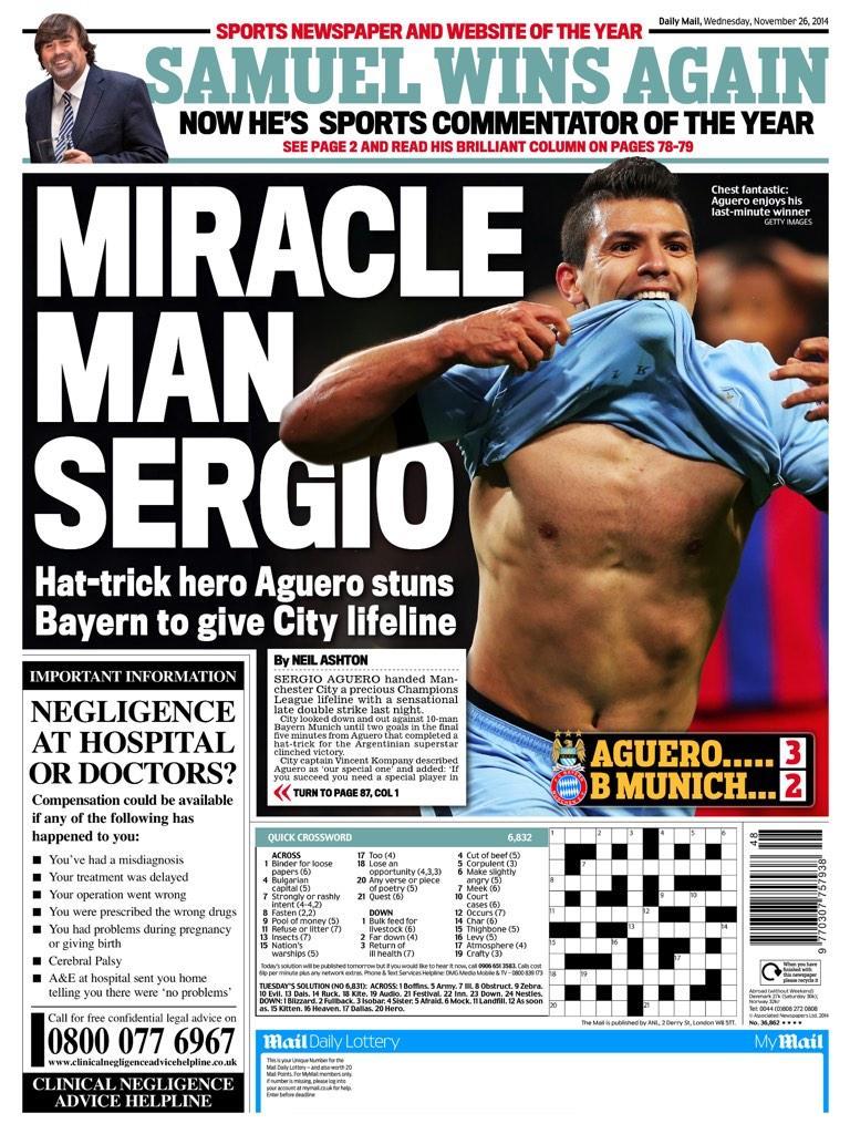 Portada del Daily Mail del 26 de Noviembre