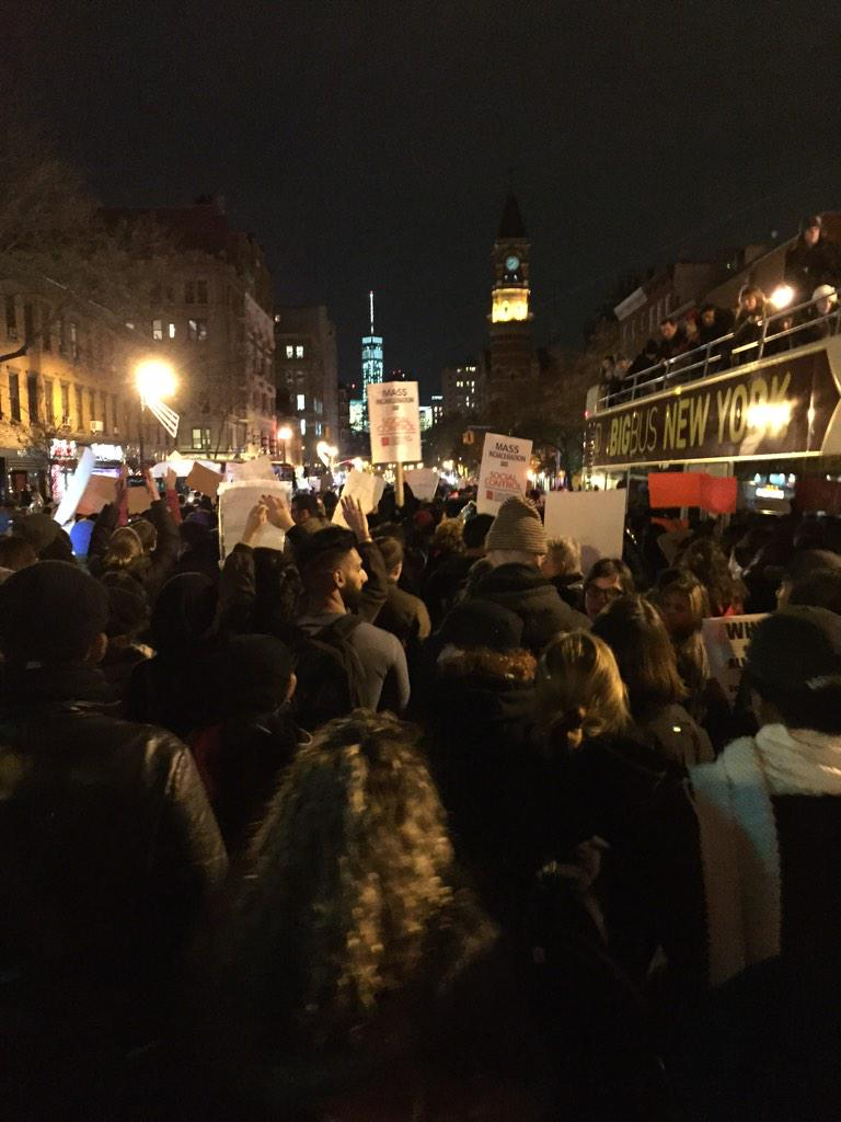 We have shut down 6th ave. Enough is enough! #FergusonDecision #JusticeForMikeBrown http://t.co/QnIjNecOp1