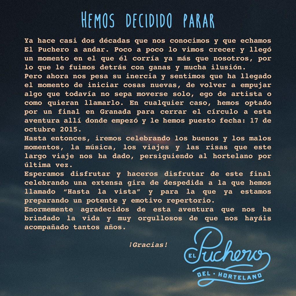 #HastalavistaElPuchero Os dejamos nuestro comunicado oficial y las primeras fechas de la gira http://t.co/PhPSYmgUhK http://t.co/zLetBrSYmA