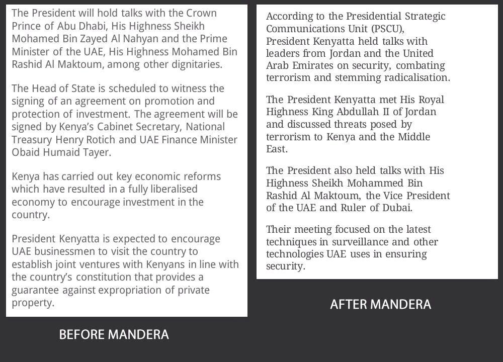 Who's fooling who @UKenyatta? Your official statement on your trip to UAE before and after Mandera. Wacha kutupaint! http://t.co/v938Cv3jTF