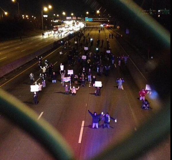 ferguson ruling protest in cincinnati ohio There have been protests around the country since a grand jury in the racially charged ferguson case declined to indict a white police officer, darren wilson, in the fatal shooting of 18-year-old michael brown.