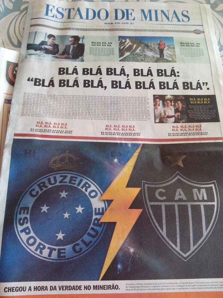 Cruzeiro x Atlético. Não há outra coisa que importe nas MG. O Estado de Minas deixou isso bem claro na capa de hoje http://t.co/rV5JckuCrQ