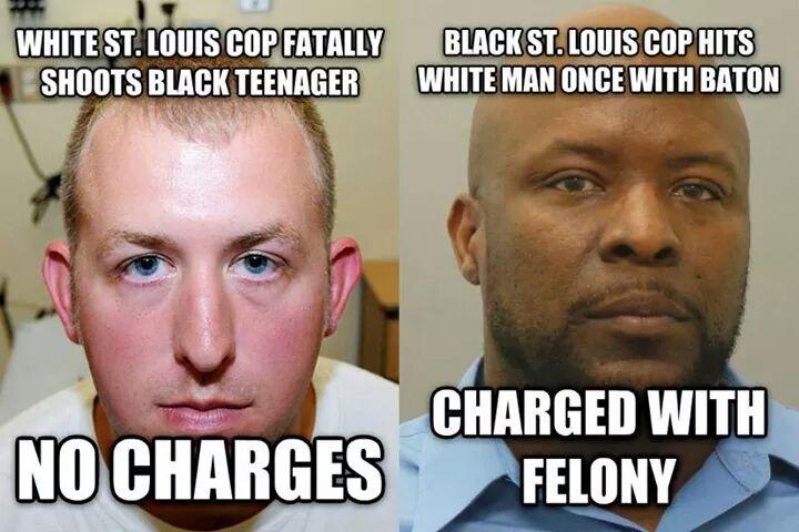 White cop kills unarmed teenager vs black cop strikes white man once. #FergusonDecision #Ferguson #nojusticenopeace http://t.co/ErFRjWAug7