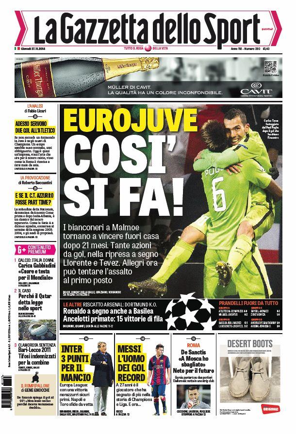 Portada de La Gazzetta dello Sport del 27 de Noviembre