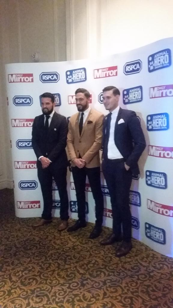RT @RSPCA_official: TOWIE chaps @RickyRayment, @Mario_Falcone and @charlessims_  looking handsome at the #AnimalHero awards tonight :) http…