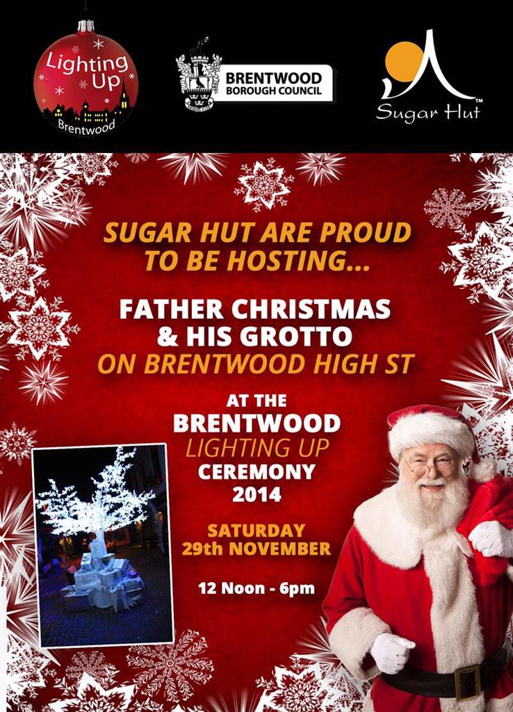Saturday is Brentwood lighting up and we have Father Christmas & his Grotto @sugarhut 12pm-6pm Everybody's welcome! http://t.co/EajFaqVTsB