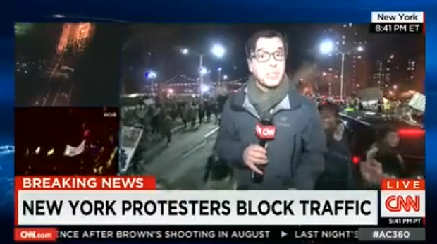 As CNN brags about 'peaceful protests', chants of FUCK CNN reign down (Video)