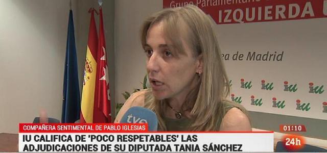 "Lamentable. Esto es la tele pública: Canal 24h rotula a Tania Sánchez como ""Compañera sentimental de Pablo Iglesias"" http://t.co/Xd0wQUcl1P"""