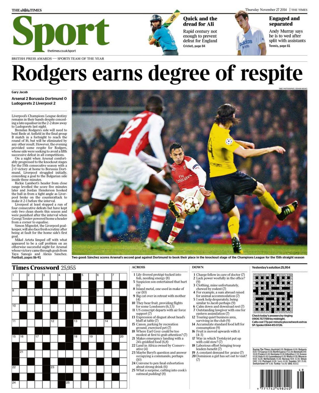 Portada de The Times del 27 de Noviembre