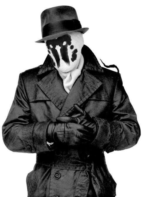 【ロールシャッハ】ウォッチメンにおける語り手である。決して妥協せず、悪に対する制裁は容赦がない。政府のヒーロー活動禁止法が施行された後も、1人で活動を続けている。コメディアンの死がヒーロー狩りを意味しているのではと疑い調査に乗り出す