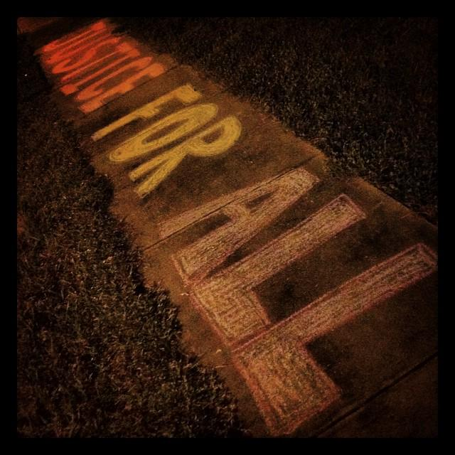 The police drove by as I colored on sidewalks at 2am. I waved and smiled; he waved back & drove on #CrimingWhileWhite http://t.co/5qGsgA8FD2