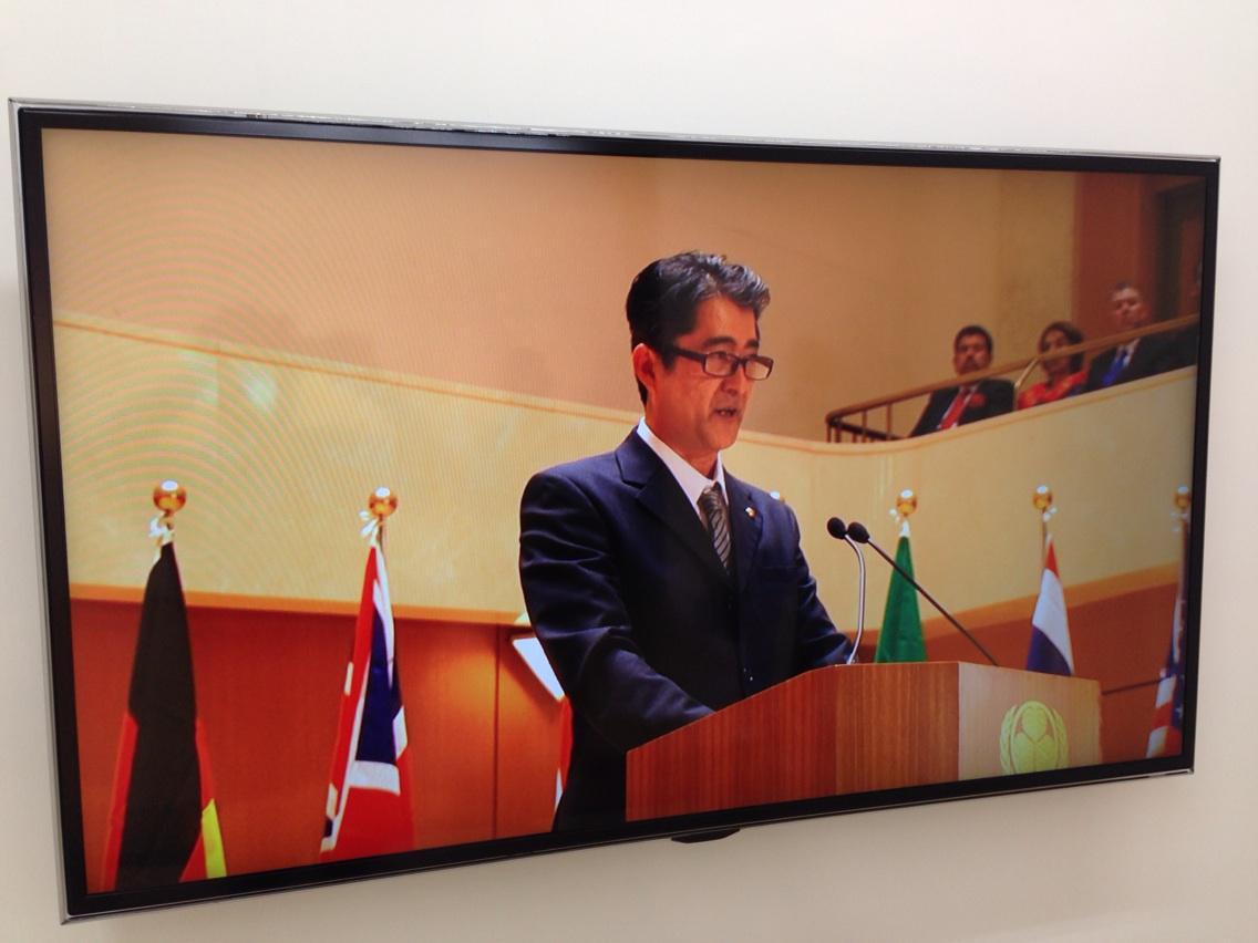 ちなみにこれが今回香港で見せているビデオ作品「国際会議で演説をする日本の総理大臣と名乗る男のビデオ」です。安倍首相とは別の架空の首相を演じてます。