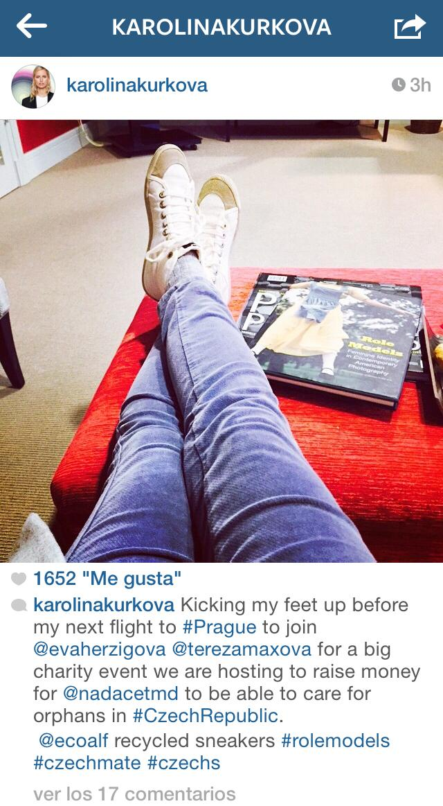 RT @ecoalf: Super-Model @karolinakurkova relaxing with our @ecoalf sneakers! Thank you! http://t.co/1iLR47fXjs