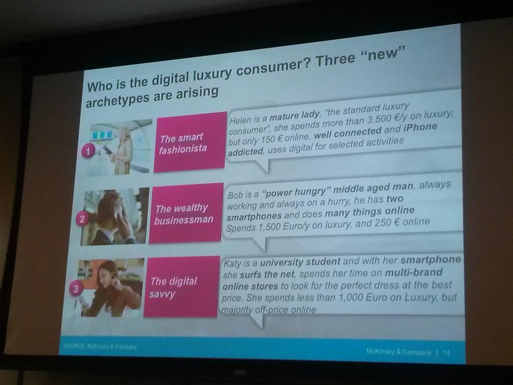 After 3 years of research, @McKinsey found that there are 3 archetypes of digital luxury consumers #luxdigital http://t.co/gpacKRtE42