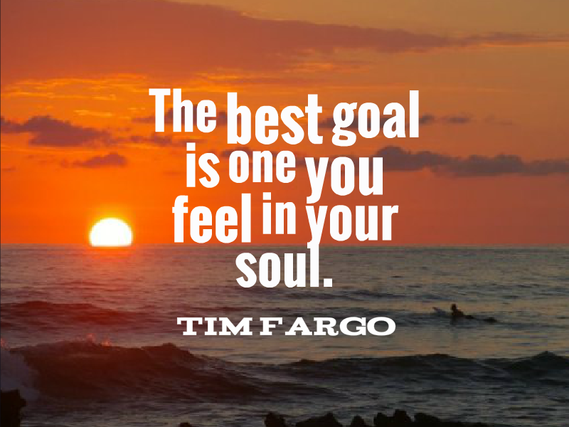 The best goal is one you feel in your soul. - Tim Fargo #quote #Wednes...