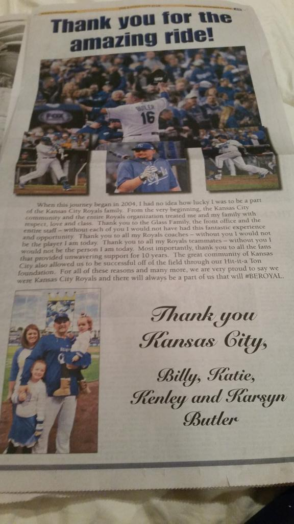 Billy Butler thanks @Royals fans w/ full page ad in @KCStar. http://t.co/DEcmgVH2Sy http://t.co/QwyBfLVzyc