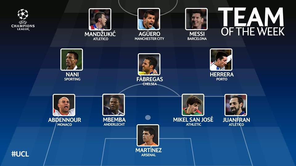 Once ideal de la quinta fecha de Champions League