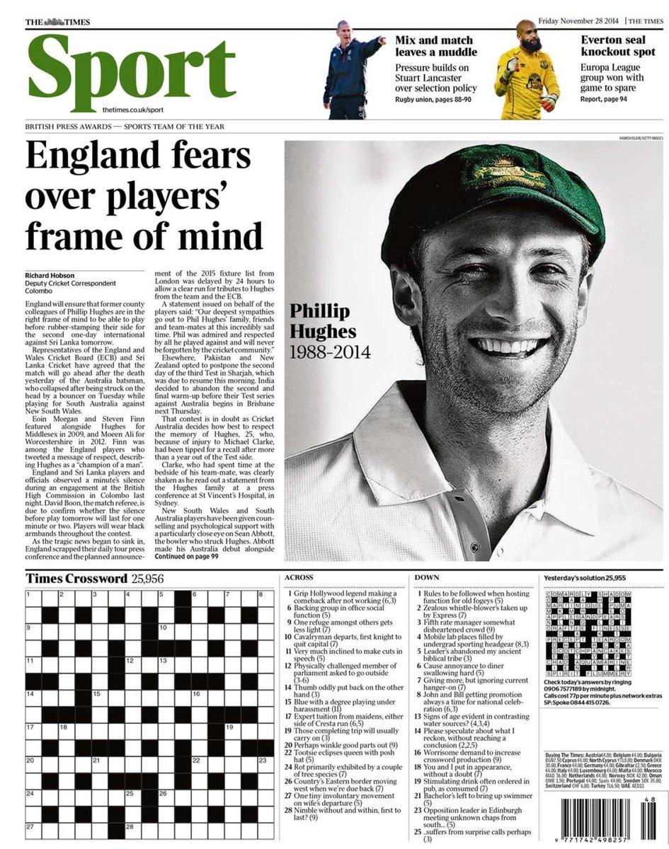Portada de The Times del 28 de Noviembre