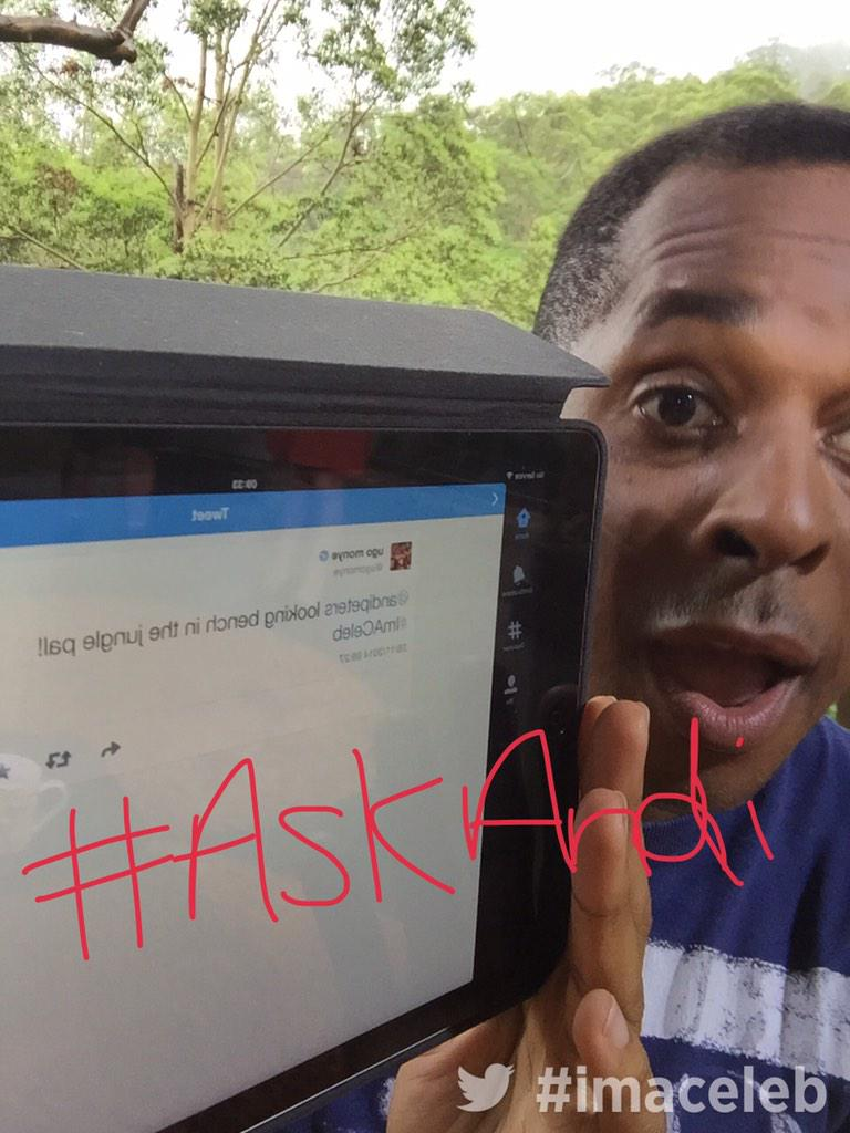 Loving @andipeters #ImACeIeb chat tonight? Well #AskAndi right here with @imacelebrity straight after the @itv2 show! http://t.co/CfFAOEXnZa