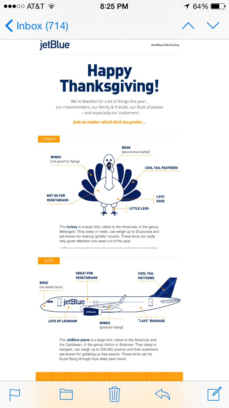 chaim haas on twitter nice job jetblue happy thanksgiving email was a riot especially loved the small print jetbluetalksturkey http t co 0mturcuvpn nice job jetblue happy thanksgiving