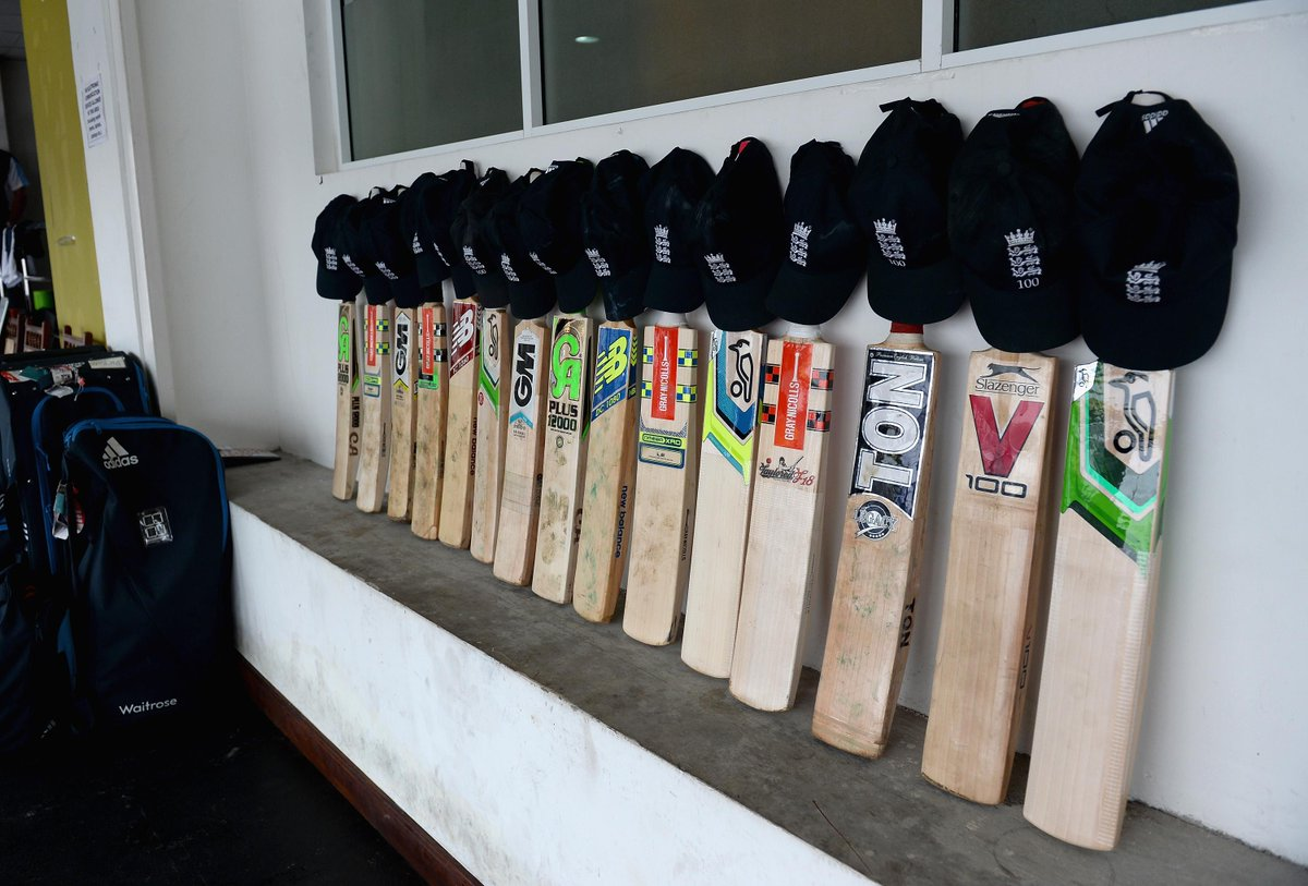 England cricket team's bats outside their dressing room in memory of Phillip Hughes #putoutyourbats #RIPPhilHughes http://t.co/pJsjeptMki